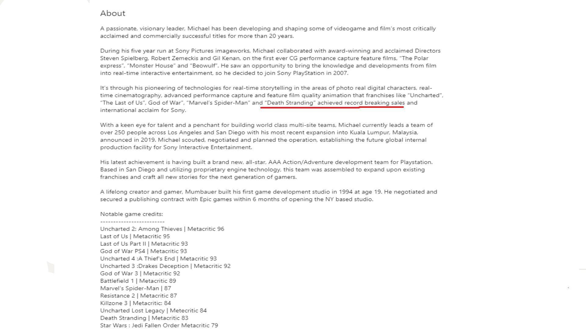 前索尼高層領英顯示:《死亡擱淺》銷量破紀錄