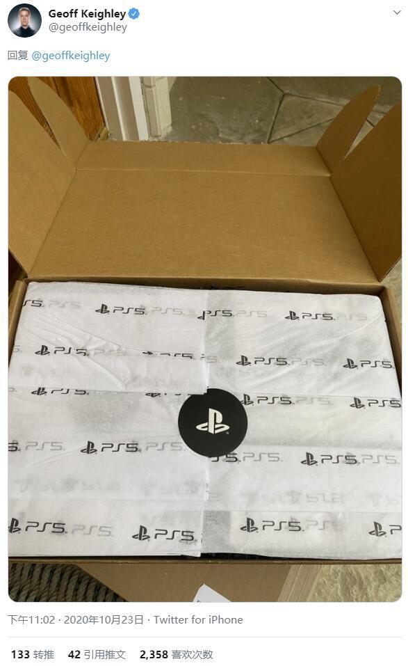 Geoff Keighley表示PS5整機包裝重量達6.6KG