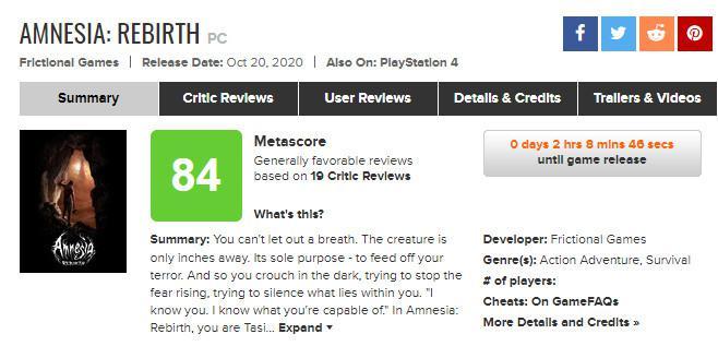 《失憶症:重生》媒體評分出爐 IGN 8分