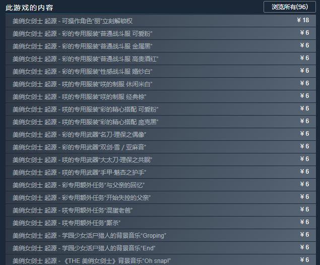 《美俏女劍士:起源》Steam版發售 DLC數量達96個!