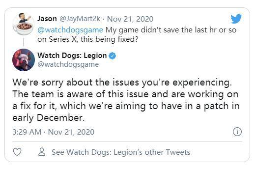 育碧《看門狗:軍團》存檔問題計劃將於12月初修復