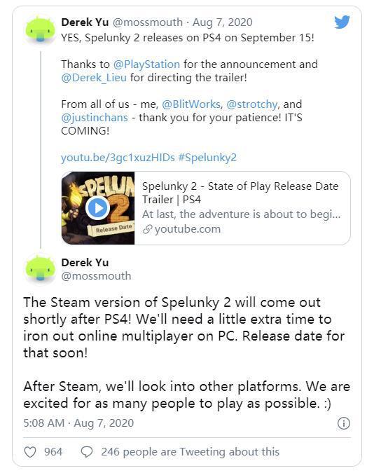 《洞穴探險2》Steam版將在PS4版發行後推出