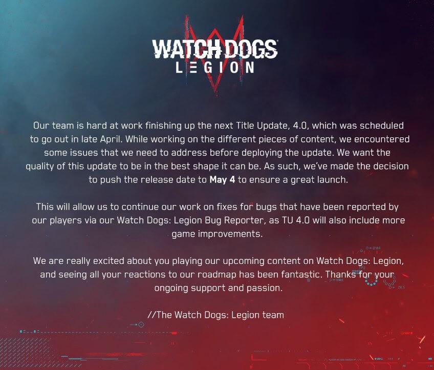 《看門狗:軍團》4.0更新已推遲至5月4日